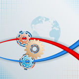 Abstract, graphic, background with colorful gears Stock Images