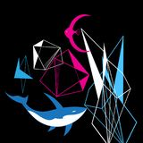 Abstract graphic background from geometric shapes and fish. On black Stock Photos