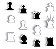 Abstract graphic chess pieces. Abstract chess pieces with shadows, it can be used as background or as icon set Royalty Free Stock Photo