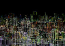 Abstract graphic composition - night metropolis. An abstract graphic composition - a night metropolis Royalty Free Stock Photo