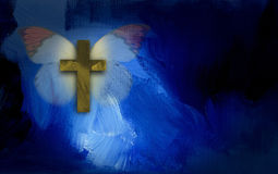 Abstract graphic with cross and butterfly wings. Abstract graphic illustration composed of Christian cross and butterfly on blue dramatic textured brush stroke Royalty Free Stock Photography