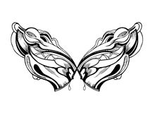 Abstract graphic design in black and white wings Stock Photos
