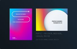 Abstract colourful graphic design of brochure in fluid liquid style with blurred smooth background. Set royalty free illustration
