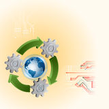 Abstract graphic design with green, recycle sign and cogwheels Stock Photos