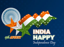 Abstract graphic, design, holidays template with orange, white and green stars on national flag colors for Indian Independence Day Stock Image