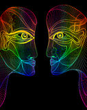 Abstract graphic design rainbow faces Royalty Free Stock Photography
