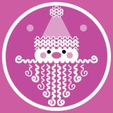 Stylized pink motif Christmas Santa face design. Abstract graphic designed Santa with a party motif. Light and dark pink background. White silhouette face with royalty free illustration