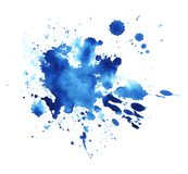Abstract graphic element. The splattered spot is saturated with blue paint. Blot on a white background. Watercolor ink stain. A