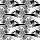 Abstract graphic eye. Decorated with seaweed and corals. Sacred geometry. Blackwork tattoo or t-shirt design. Vector art isolated on white background. Coloring Royalty Free Stock Photo