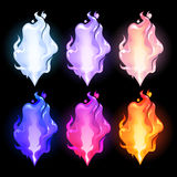 Abstract graphic fire. Collection in different colors. Vector design element isolated on black background Stock Image