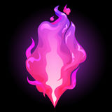 Abstract graphic fire. In purple colors. Vector design element isolated on black background Royalty Free Stock Photo