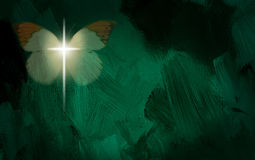 Abstract graphic with glowing cross and butterfly wings. Abstract graphic composed of glowing Christian cross and butterfly on green dramatic textured brush Stock Images