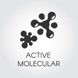 Abstract graphic icon of molecule chemical bond. Active compound concept. Vector emblem in flat style. Black label Stock Image