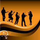 Abstract graphic of musicians. With floral motif in lower corner royalty free illustration