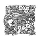 Abstract graphic picture on the theme girls, flowers, floral orn Stock Images