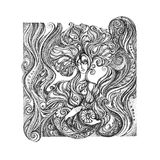 Abstract graphic picture on the theme girls, flowers, floral orn Royalty Free Stock Photography