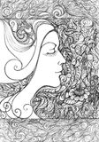 Abstract graphic picture on the theme girls, flowers, floral ornaments. In the style of pointillism stock illustration