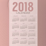 2018 Abstract Graphic Printable Calendar Starts Sunday Stock Photos