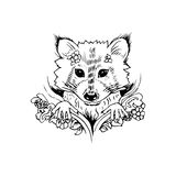 Abstract graphic raccoon, print Stock Photo