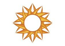 Abstract graphic round yellow sun vector. Sun graphic icon vector. Yellow round label isolated on a white background. Abstract circle frame vector illustration