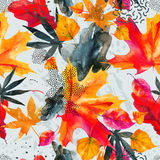 Abstract graphic seamless pattern in bright autumn colors. Abstract fall seamless pattern in bright autumn colors. Watercolor graphic painting of falling leaves vector illustration