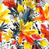Abstract graphic seamless pattern in bright autumn colors. Abstract fall seamless pattern in bright autumn colors. Watercolor graphic painting of falling leaves royalty free illustration