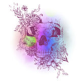 Abstract graphic skull, print Stock Images