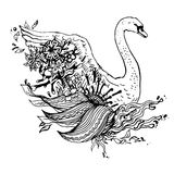 Abstract graphic swan, print. Royalty Free Stock Photos