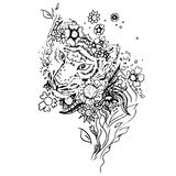 Abstract graphic tiger, print. Black and white tiger isolated. Engraving sketch. Abstract vector tiger in the flowers. Print for t-shirt. Wild things royalty free illustration