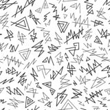 Abstract Graphic Uncolored Seamless Pattern of Black Angular Lines Scribbles on White Backdrop. Monochrome  Continuous Simple Background for Cloth, Fabric royalty free illustration