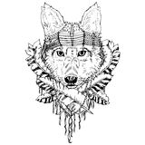 Abstract graphic wolf, print. Black and white wolf isolated. Engraving sketch. Abstract vector animal with leaves. Print for t-shirt. Wild things royalty free illustration