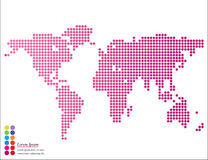 Abstract graphic world map of round dots with pointer marks . Stock Images