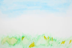 Abstract grass and sky watercolor Royalty Free Stock Photo