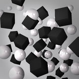 Abstract gray background made of black cubes and white spheres. This illustration is a 3d render representing an abstract gray background made of black cubes and Stock Photos