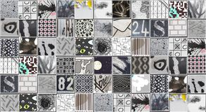 Abstract Gray Background made with Small illustrations. Collage Stock Photography