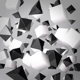 Abstract gray background made of white cubes and black prisms. This illustration is a 3d render representing an abstract gray background made of white cubes and Royalty Free Stock Image