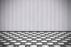 Lady. Abstract gray background with white checkered floor Stock Photography