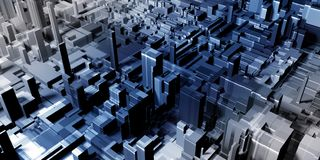 Abstract gray city backdrop. Abstract digital gray city backdrop with buildings and skyscrapers. Urban concept. 3D Rendering Royalty Free Stock Images