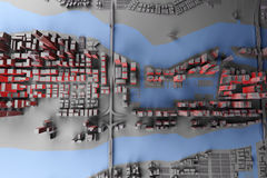 Abstract gray city top view. Abstract gray city with red light top view. 3d rendering Stock Photo