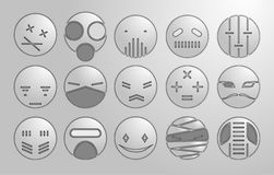 Abstract gray faces, vector. Vector illustration, strange faces, masks Royalty Free Stock Photography