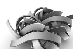 Abstract gray ribbons on white background. 3d image Royalty Free Stock Image