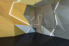 Abstract gray room with mirrors. 3D Rendering stock illustration