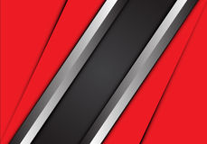 Abstract gray silver banner and red overlap design modern background vector. Stock Photos