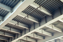 Abstract gray steel construction with beams and bolts Royalty Free Stock Photography