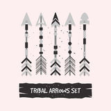 Abstract gray tribal arrows set Royalty Free Stock Images