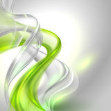 Abstract Gray Waving Background With Green Element Stock Image