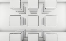 Abstract grayscale cubes background. Abstract geometric shape from white and gray cubes stock illustration