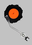 Abstract grazed vynil with record player tonearm. Isolated Stock Images