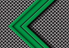 Abstract green arrow direction overlap on grey metal square mesh design modern futuristic background vector. Illustration royalty free illustration