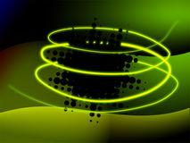 Abstract green background. With bright yellow 3d spiral and dark fractal object Royalty Free Stock Images